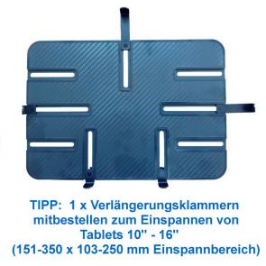 Verlängerungsklammern für P-Tisch, zum Einspannen von Tablets 10''-16'' (151-350 x 103-250 mm Einspannbereich)